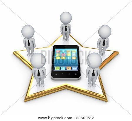 3d small people on a star and modern mobile phone.