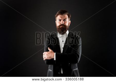 Make Statement. Confident Man Black Background. Bearded Man Keep Arms Crossed With Confidence. Confi