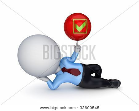 3d small person with a tick mark.Isolated on white background. poster