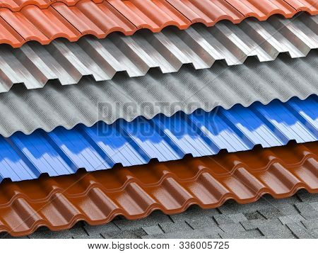 Different types of roof coating. Background from layers of sheet metal  profiles, ceramic tiles, asphalt roofing shingles and gypsum slate. 3d illustration