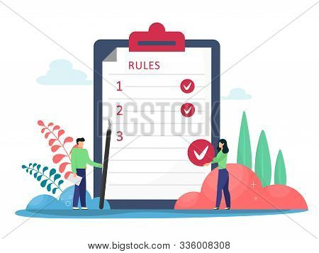 Rules Vector Illustration. Flat Tiny Rules Checklist Persons Concept. Principles And Strategy Of Com