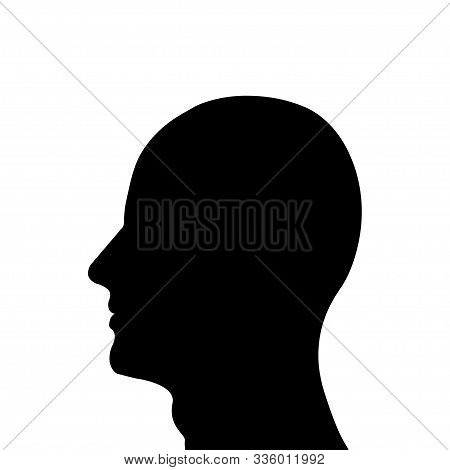 Head Man Icon. Isolated Vector Illustration. Men Head Silhouette Male Profile. Black Silhouette. Man