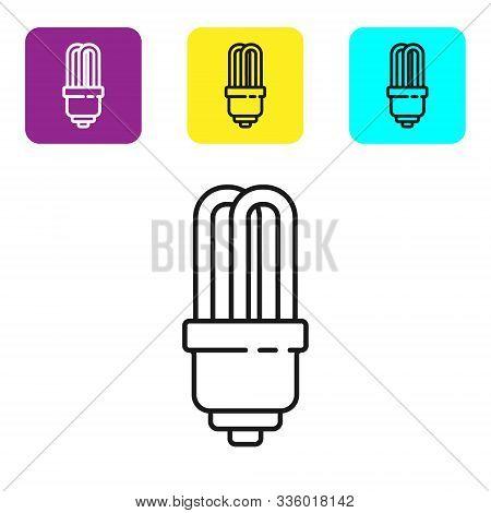 Black Line Led Light Bulb Icon Isolated On White Background. Economical Led Illuminated Lightbulb. S
