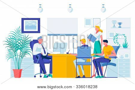 Employees Team Reporting Project Results To Boss Chief. Flat Office Interior. Businesspeople Group M