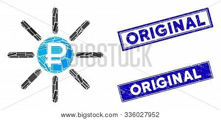 Mosaic Rouble Source Pictogram And Rectangular Original Stamps. Flat Vector Rouble Source Mosaic Pic
