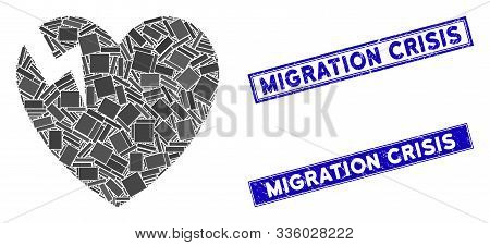 Mosaic Heart Crack Icon And Rectangle Migration Crisis Stamps. Flat Vector Heart Crack Mosaic Icon O