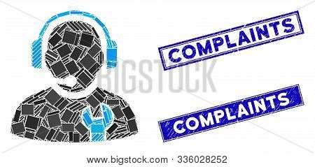 Mosaic Service Operator Icon And Rectangle Complaints Rubber Prints. Flat Vector Service Operator Mo