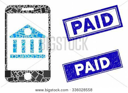 Mosaic Mobile Bank Icon And Rectangular Paid Seal Stamps. Flat Vector Mobile Bank Mosaic Pictogram O