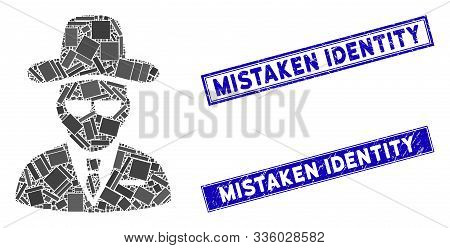 Mosaic Agent Pictogram And Rectangular Mistaken Identity Seal Stamps. Flat Vector Agent Mosaic Icon