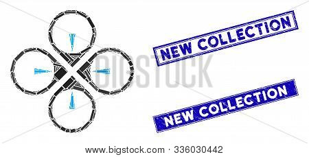 Mosaic Fly Drone Icon And Rectangle New Collection Seal Stamps. Flat Vector Fly Drone Mosaic Icon Of