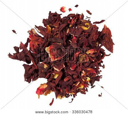 Hibiscus Dried Leaves Isolated On White. Clipping Path Included.