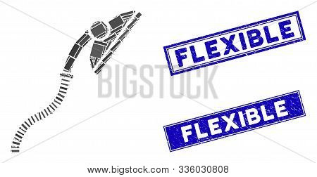 Mosaic Flexible Shower Pictogram And Rectangle Flexible Seal Stamps. Flat Vector Flexible Shower Mos