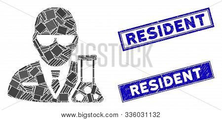 Mosaic Chemical Scientist Icon And Rectangle Resident Seal Stamps. Flat Vector Chemical Scientist Mo