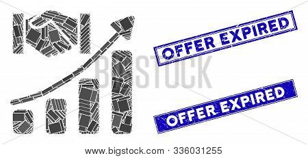 Mosaic Acquisition Hands Growth Chart Icon And Rectangular Offer Expired Seal Stamps. Flat Vector Ac
