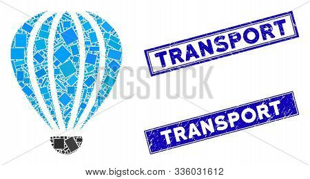 Mosaic Aerostat Pictogram And Rectangle Transport Seal Stamps. Flat Vector Aerostat Mosaic Icon Of R