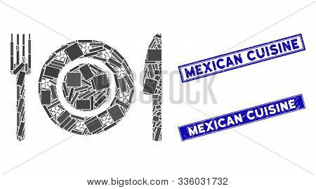 Mosaic Restaurant Tableware Icon And Rectangular Mexican Cuisine Seal Stamps. Flat Vector Restaurant