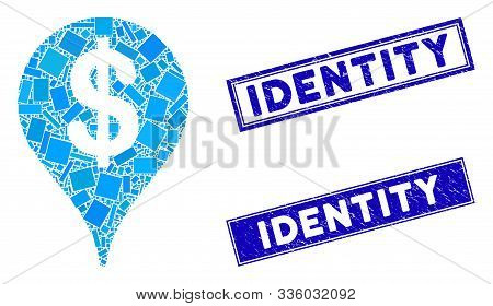 Mosaic Bank Map Marker Icon And Rectangle Identity Stamps. Flat Vector Bank Map Marker Mosaic Icon O