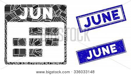 Mosaic June Calendar Grid Icon And Rectangle June Rubber Prints. Flat Vector June Calendar Grid Mosa