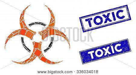 Mosaic Bio Hazard Icon And Rectangular Toxic Rubber Prints. Flat Vector Bio Hazard Mosaic Pictogram
