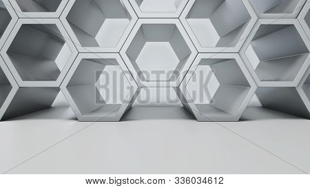 Empty White Interior With Hexagon Shelves On The Wall, 3d Rendering