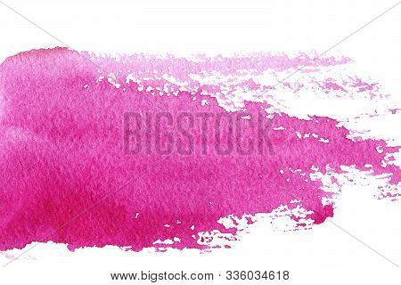 Abstract Watercolor Stain Smear Of Wine Red Isolated On A White Background. Hand Drawn Watercolor Il
