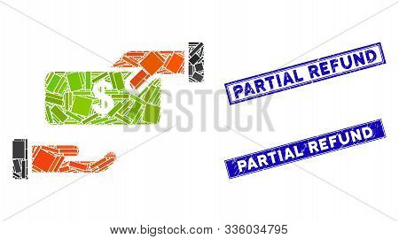 Mosaic Rebate Icon And Rectangle Partial Refund Watermarks. Flat Vector Rebate Mosaic Icon Of Random