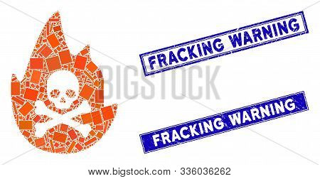 Mosaic Hellfire Icon And Rectangle Fracking Warning Stamps. Flat Vector Hellfire Mosaic Icon Of Scat