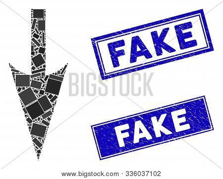 Mosaic Sharp Down Arrow Pictogram And Rectangle Fake Seals. Flat Vector Sharp Down Arrow Mosaic Pict