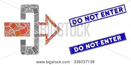 Mosaic Gateway Pictogram And Rectangle Do Not Enter Seals. Flat Vector Gateway Mosaic Pictogram Of S
