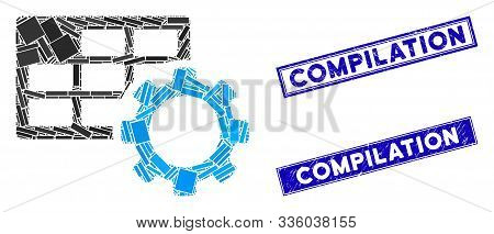 Mosaic Schedule Settings Pictogram And Rectangular Compilation Rubber Prints. Flat Vector Schedule S