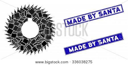 Mosaic Milling Cutter Pictogram And Rectangular Made By Santa Seal Stamps. Flat Vector Milling Cutte