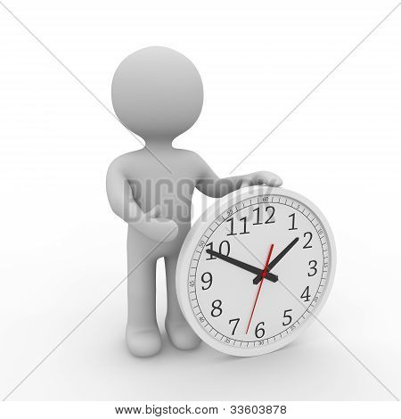 Grey Figure Holding A Clock