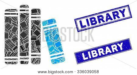 Mosaic Book Library Pictogram And Rectangular Library Seals. Flat Vector Book Library Mosaic Pictogr