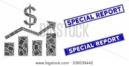 Mosaic Sales Chart Pictogram And Rectangle Special Report Watermarks. Flat Vector Sales Chart Mosaic