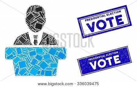 Mosaic Politician Icon And Rectangular Presidential Election Vote Stamps. Flat Vector Politician Mos