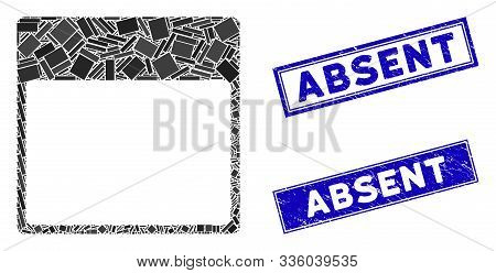 Mosaic Calendar Page Template Pictogram And Rectangular Absent Watermarks. Flat Vector Calendar Page