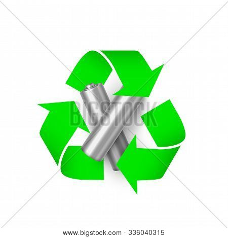 Battery Recycling Realistic Vector Illustration. Electricity Power Source And Eco Friendly Green Sym
