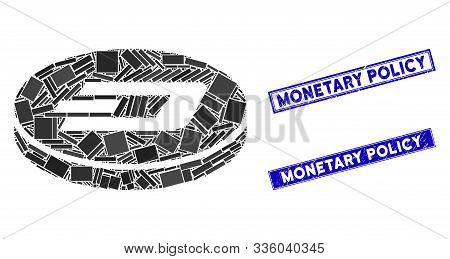 Mosaic Dash Coin Icon And Rectangle Monetary Policy Watermarks. Flat Vector Dash Coin Mosaic Icon Of