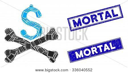 Mosaic Mortal Debt Icon And Rectangle Mortal Stamps. Flat Vector Mortal Debt Mosaic Pictogram Of Ran