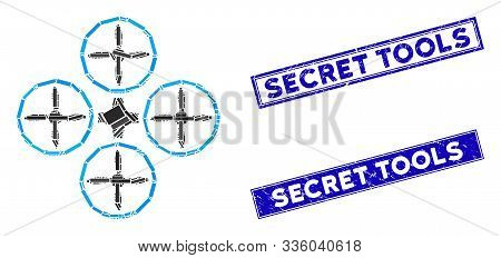 Mosaic Quadcopter Pictogram And Rectangle Secret Tools Seal Stamps. Flat Vector Quadcopter Mosaic Pi