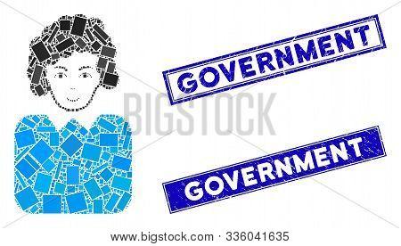 Mosaic Bureaucrat Lady Icon And Rectangle Government Seal Stamps. Flat Vector Bureaucrat Lady Mosaic