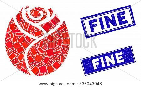 Mosaic Rose Button Icon And Rectangular Fine Rubber Prints. Flat Vector Rose Button Mosaic Icon Of R
