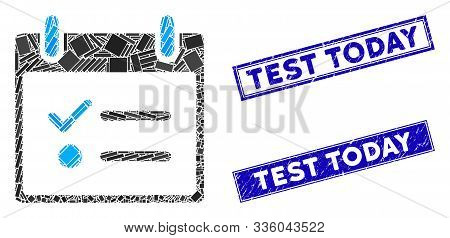 Mosaic Todo List Calendar Day Pictogram And Rectangle Test Today Seal Stamps. Flat Vector Todo List