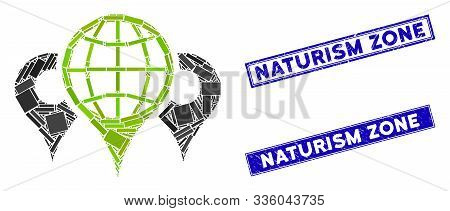 Mosaic Locations Icon And Rectangular Naturism Zone Seals. Flat Vector Locations Mosaic Icon Of Rand