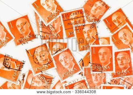 Seattle Washington - November 22, 2019: Spanish Stamp  Background Featuring General Franco. Scott #