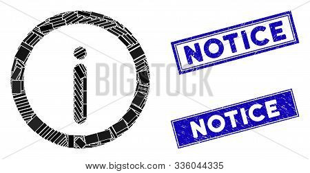 Mosaic Info Icon And Rectangular Notice Seal Stamps. Flat Vector Info Mosaic Icon Of Random Rotated