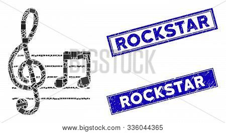 Mosaic Musical Notation Icon And Rectangle Rockstar Stamps. Flat Vector Musical Notation Mosaic Icon