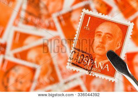 Seattle Washington -november 22, 2019: Stamp Featuring General Franco On Spanish Stamp. Scott # 825
