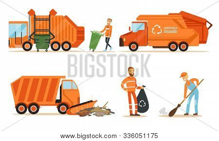 Orange Garbage Truck And A Garbage Collector Remove Garbage. Set Of Vector Illustrations.