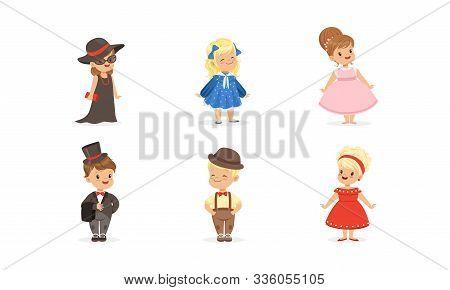 Little Children Wearing Adult Attire Vector Set
